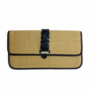 Cole Haan leather and straw slim clutch